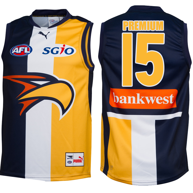 Buy 2015 West Coast Eagles Guernsey - Youth 12 - Your Jersey