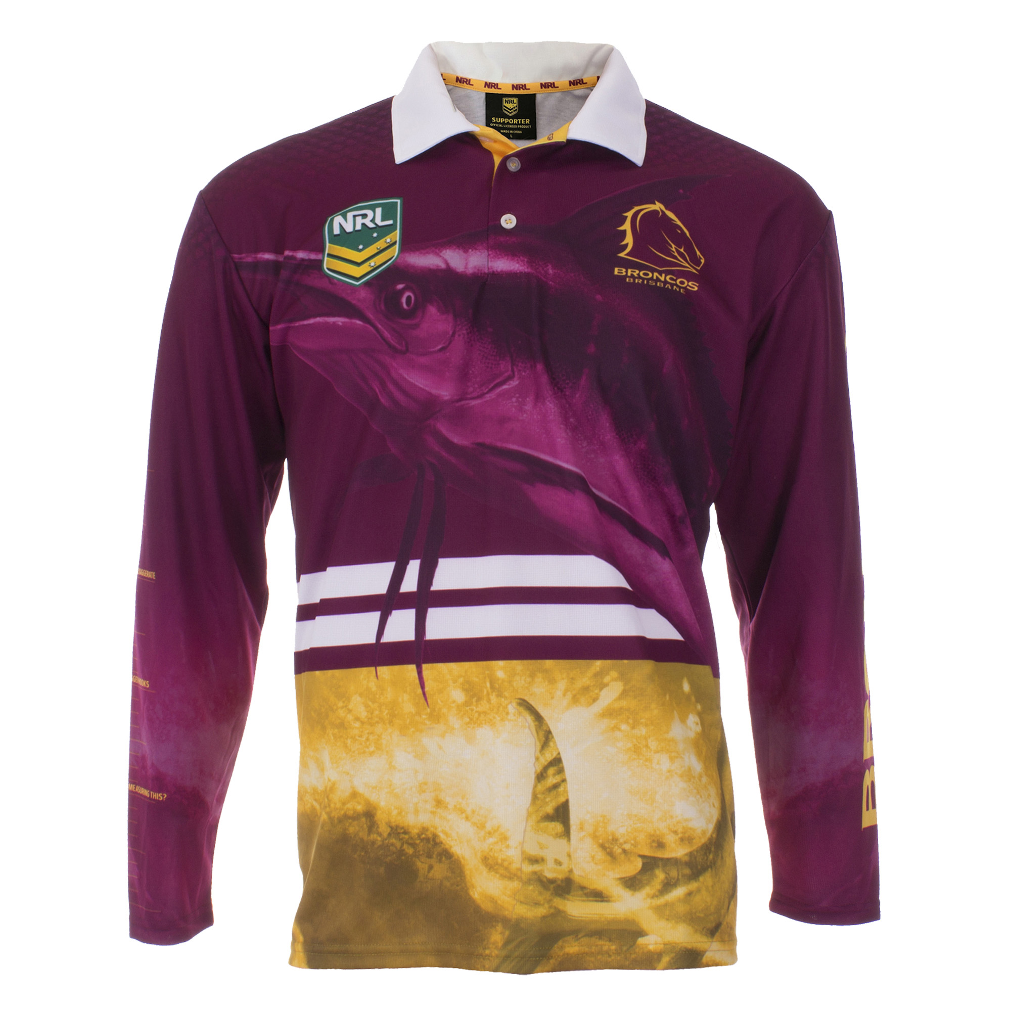 Personalised NRL Broncos Fishing Shirt - Front View