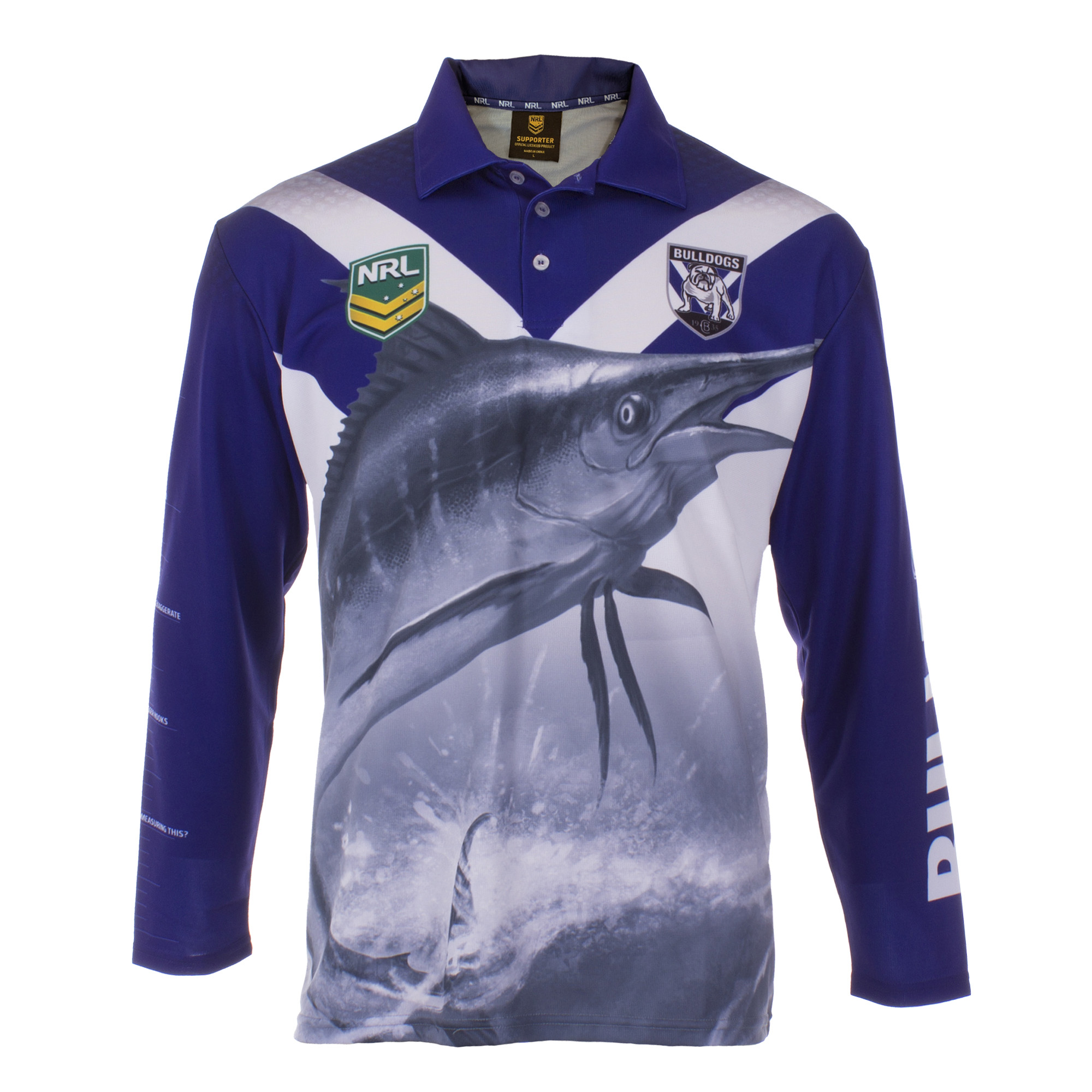 Personalised NRL Bulldogs Fishing Shirt - Front View