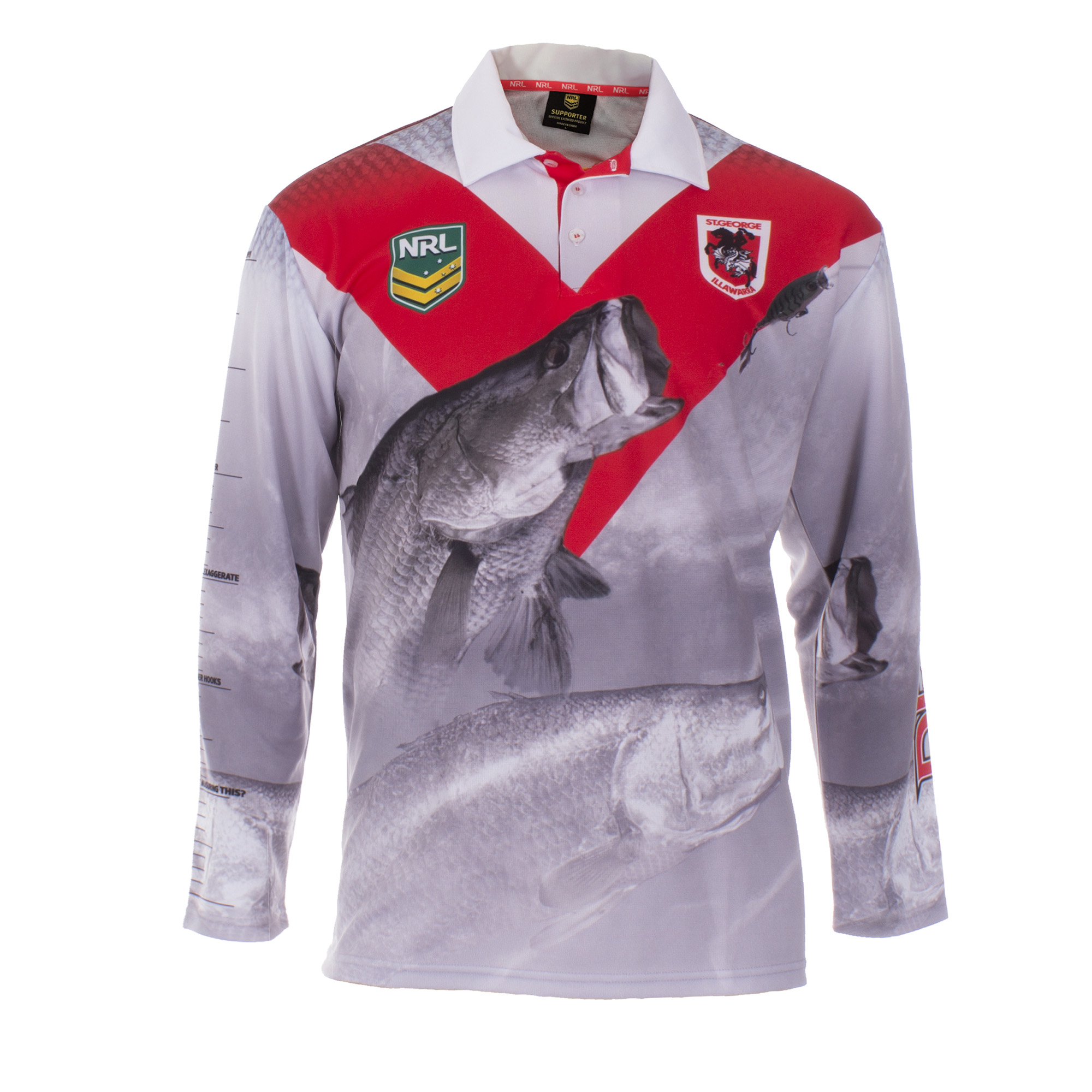 Personalised NRL Dragons Fishing Shirt - Front View