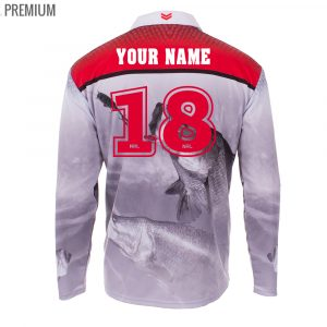 Personalised NRL Dragons Fishing Shirt - Premium Personalisation