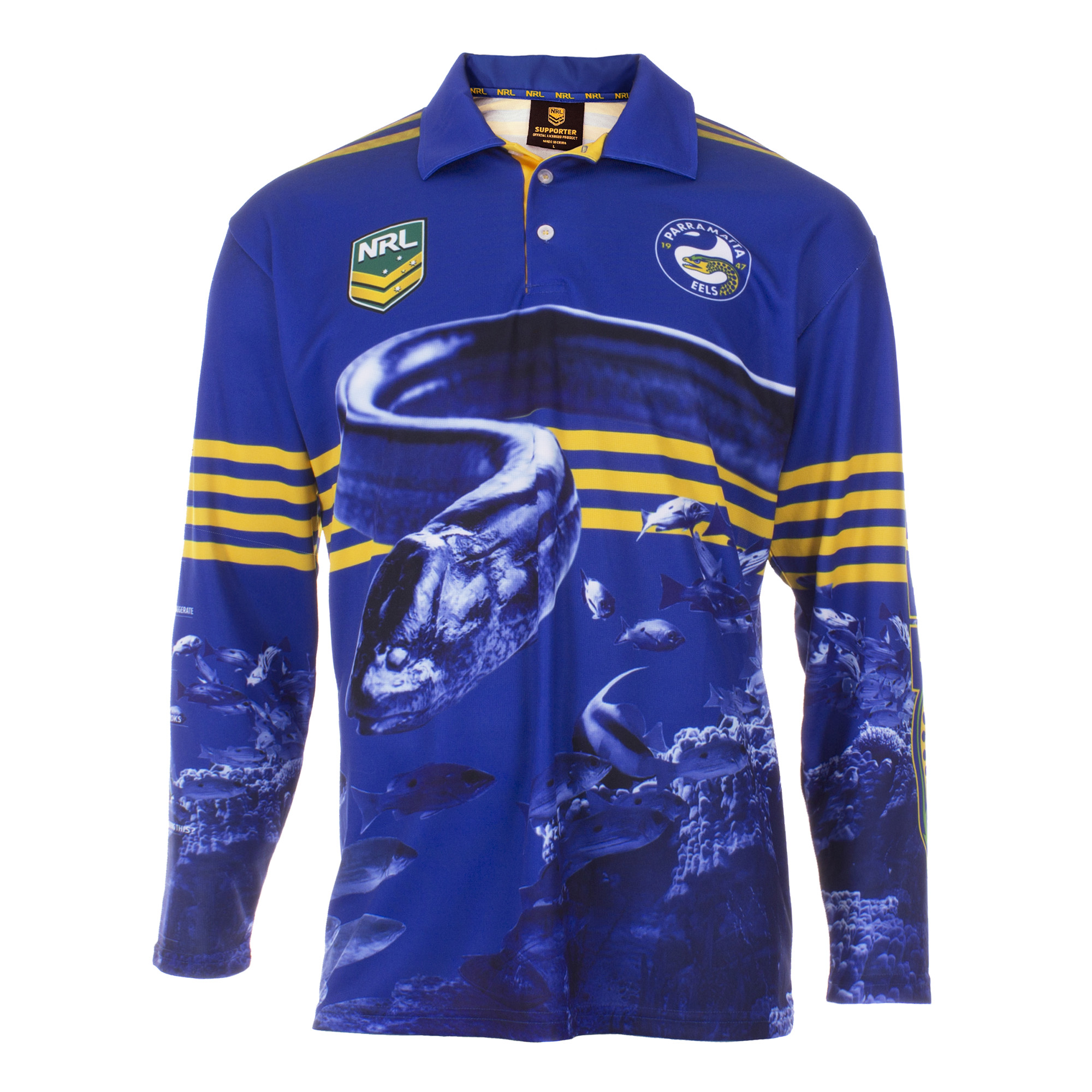 Personalised NRL Parramatta Eels Fishing Shirt - Front Personalisation