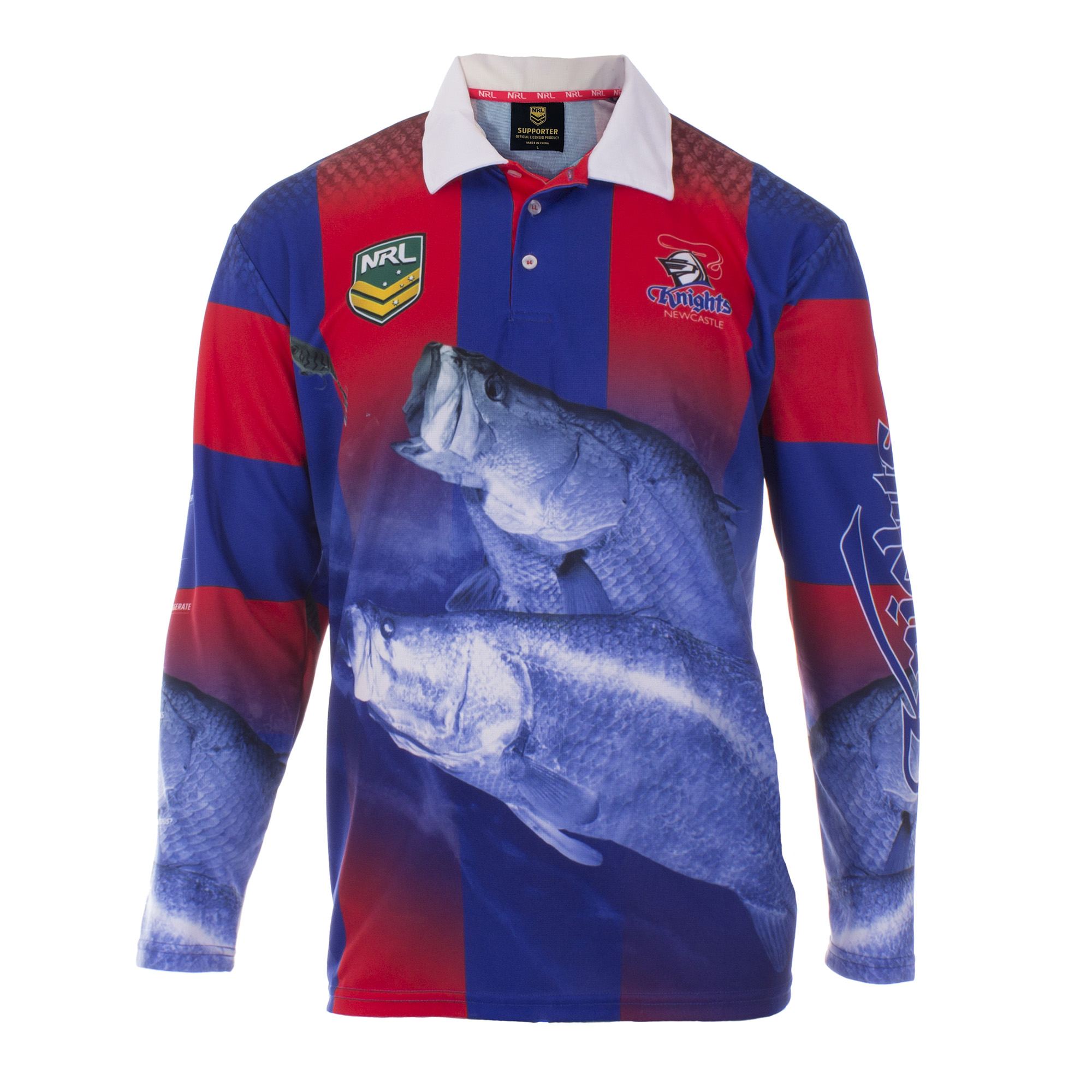 Personalised NRL Knights Fishing Shirt - Front View