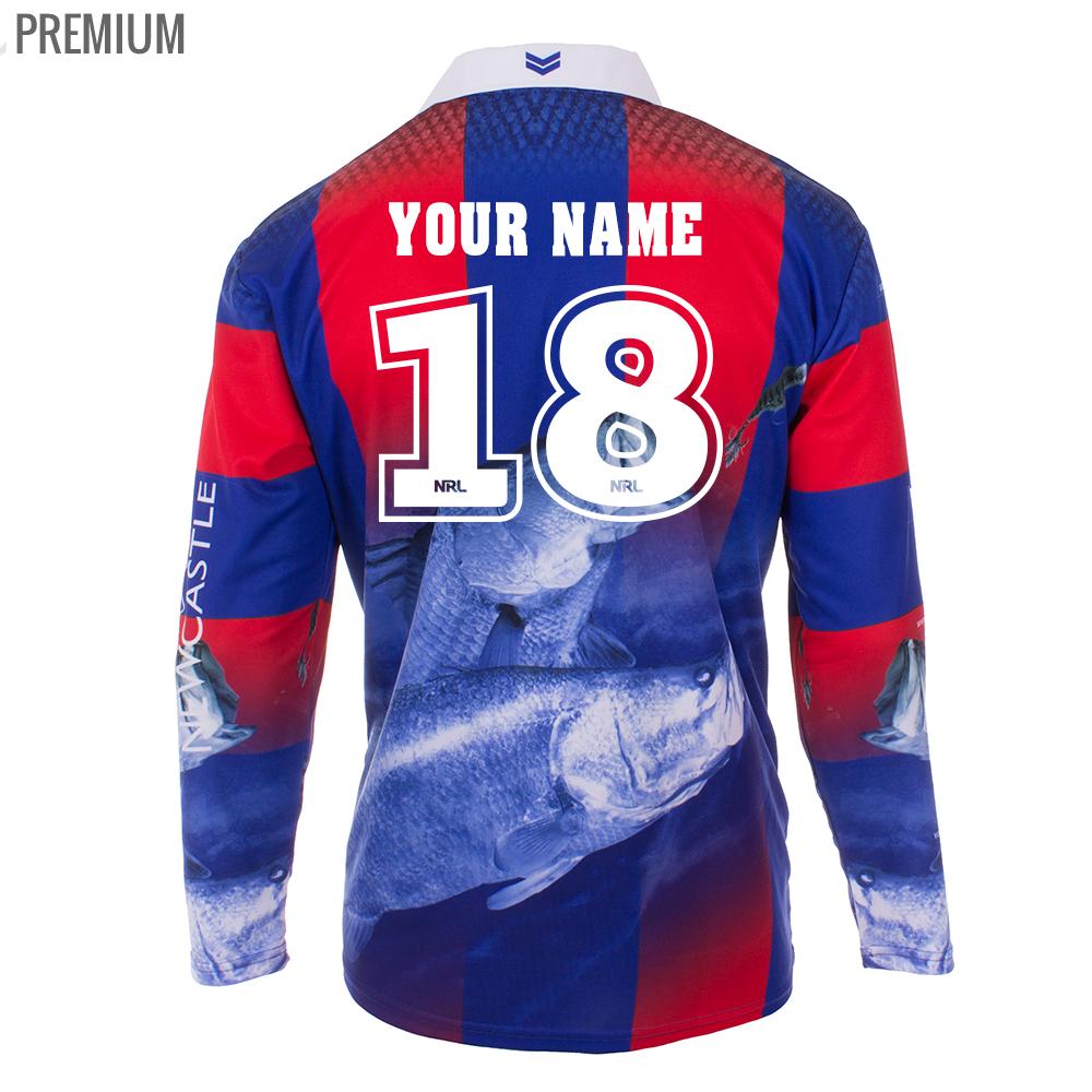 Personalised NRL Knights Fishing Shirt - Premium Personalisation