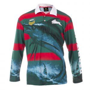 Personalised NRL Rabbitohs Fishing Shirt - Front View