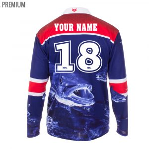 Personalised NRL Roosters Fishing Shirt - Premium Personalisation