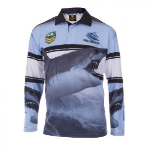 Personalised NRL Sharks Fishing Shirt - Front View