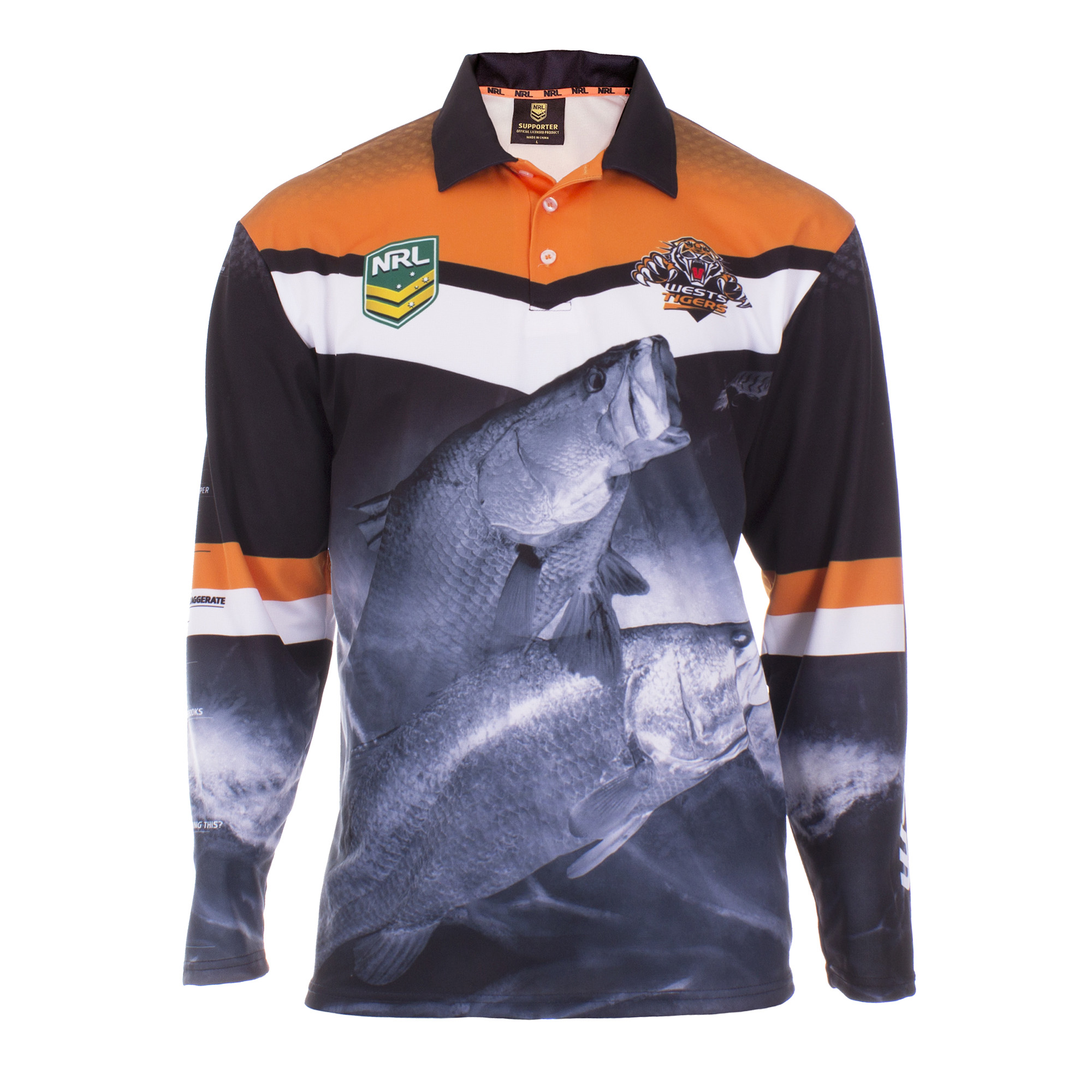 Personalised NRL Tigers Fishing Shirt - Front View