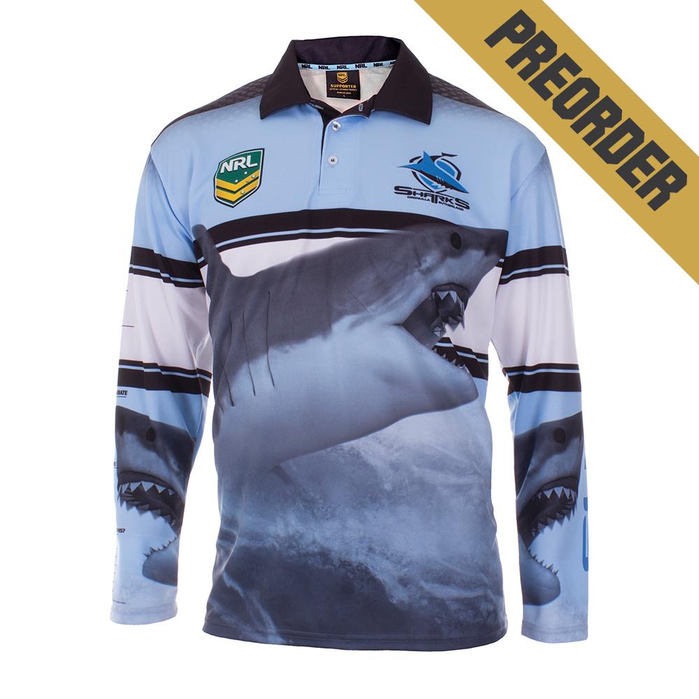 Preorder cronulla sharks fishing shirt youth your jersey for Shark fishing nj